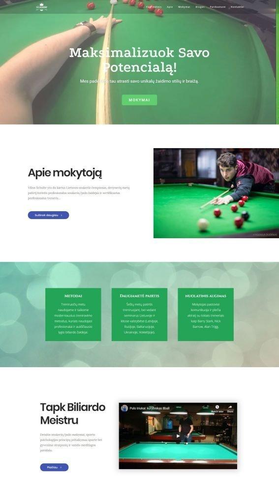 Internetiniu svetainiu kurimas Snukerio ir Biliardo trenerio internetine svetaine