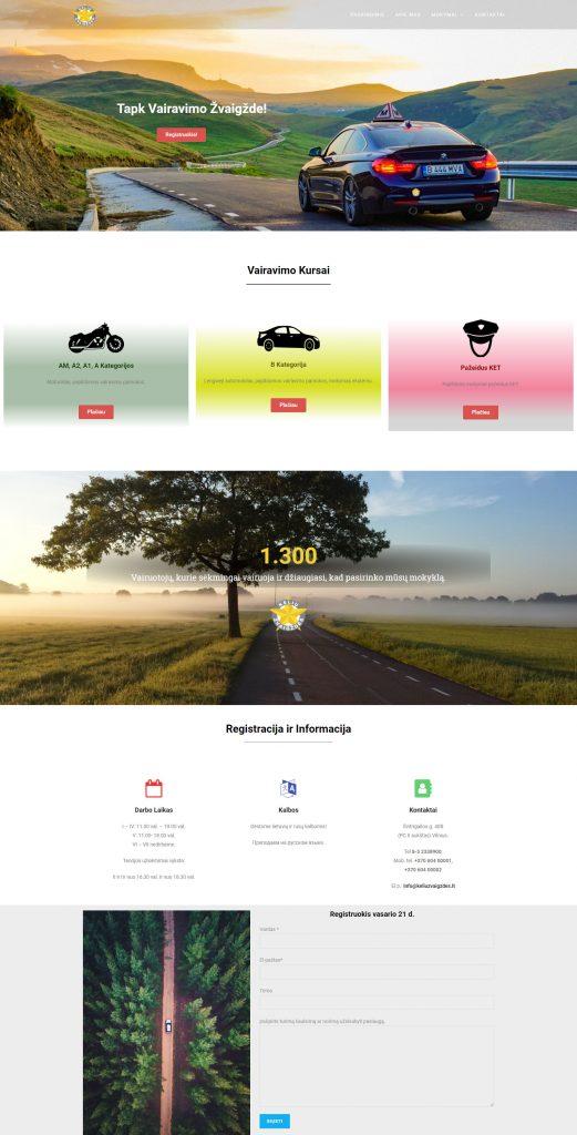 internetinių svetainių kūrimas: vairavimo mokykla Kelių žvagždės